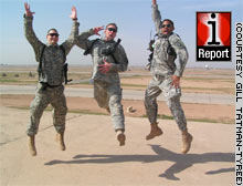 Soldiers jump up