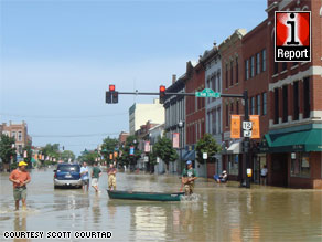 Flooding in downtown Findlay, Ohio