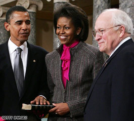 Obama is sworn into the Senate by his eighth cousin, Vice President Cheney.