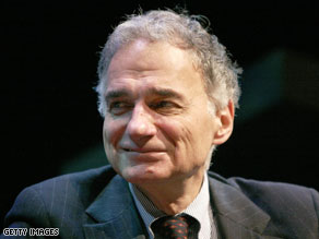 Nader said he likes Democrat John Edwards for president.
