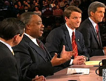 All four remaining candidates -- (left to right) Kucinich, Sharpton, Edwards and Kerry -- debated in Los Angeles five days before the state primary.